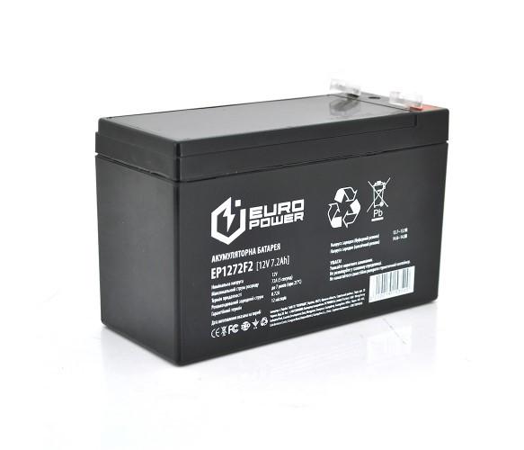 Аккумулятор AGM EuroPower - 7.2 Ач 12 В EP12-7.2F2, Black Q10