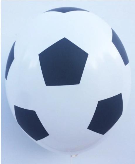 """Латексна кулька з малюнком М'яч футбольний принт чорним 12"""" 30см Belbal білий 002 ТМ """"Star"""""""