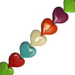 Кулон Бусины Сердца Большие Цвет Ассорти, Размер 32*35*8 мм, Отверстие 1,5 мм, Фурнитура для Кулонов,