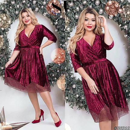 """Эффектное женское платье с V-образным вырезом ткань """"Бархат"""" 46, 48 размер 46, фото 2"""