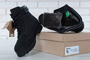 Женские ботинки Timberland Black (натуральный мех)