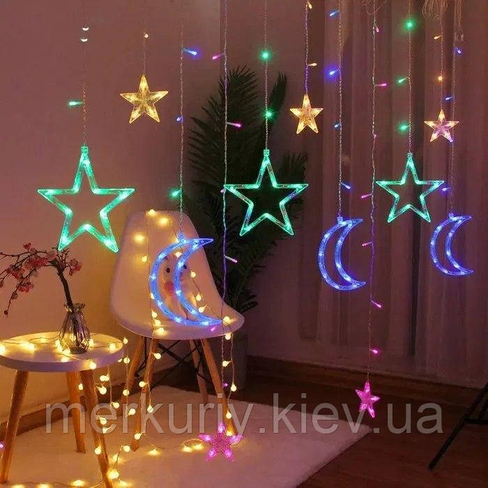 Светодиодная гирлянда штора звезды и месяц с пультом multi light