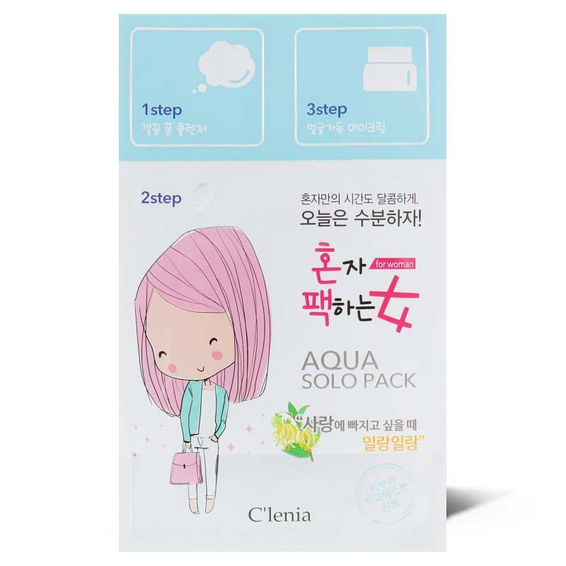 Увлажняющая маска для лица Clenia Solo Pack Woman Moisturizing Aqua 3 step Mask 1.5мл/25мл/1.5мл
