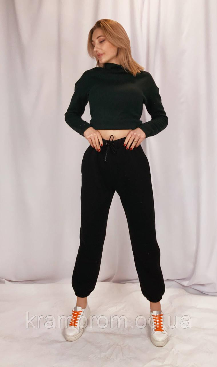 Стильные утеплённые зимние штаны оверсайз на флисе