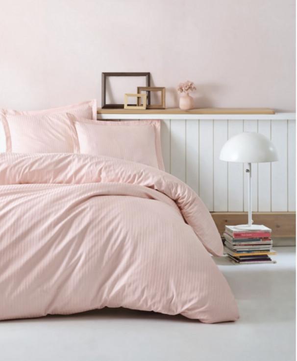 Постельный комплект евро 200 TC розовый страйп сатин 200*220