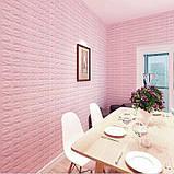 Декоративная 3D панель самоклейка под кирпич Розовый 700x770x7мм, фото 5