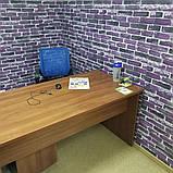 Декоративна 3D панель самоклейка під цеглу фіолетовий Катеринославський 700х770х5мм, фото 2
