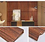 Декоративна 3D панель самоклейка під темний дуб 700х700х5мм, фото 2