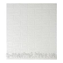 Декоративна 3D панель самоклейка під цеглу Білий 700х770х5мм