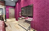 Декоративная 3D панель самоклейка под кирпич Темно-розовый 700x770x7мм, фото 3