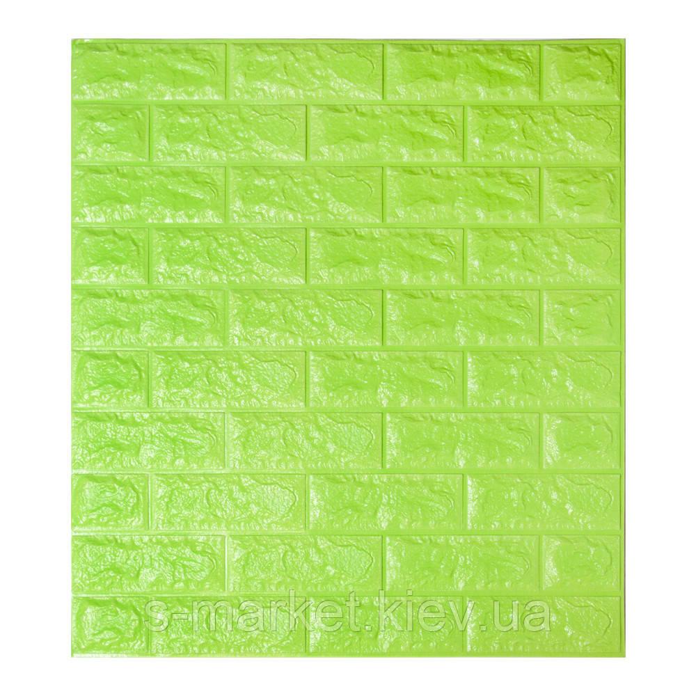 Декоративна 3D панель самоклейка під цеглу Зелений 700х770х7мм
