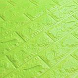 Декоративна 3D панель самоклейка під цеглу Зелений 700х770х7мм, фото 2