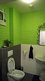 Декоративна 3D панель самоклейка під цеглу Зелений 700х770х7мм, фото 3