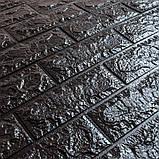 Декоративна 3D панель самоклейка під цеглу Чорний 700х770х7мм, фото 3