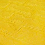 Декоративная 3D панель самоклейка под кирпич Желтый 700x770x5мм, фото 3