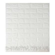 Декоративная 3D панель самоклейка под кирпич Белый 7 мм(в упаковке 10 шт) 700x770x7мм