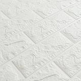 Декоративная 3D панель самоклейка под кирпич Белый 7 мм(в упаковке 10 шт) 700x770x7мм, фото 2