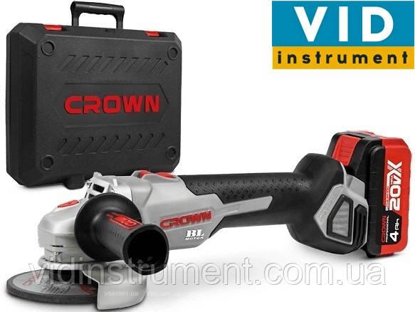 Болгарка Crown CT23001-115HX-4 BMC (2 аккумулятора, кейс, 115 диск)