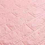 Декоративная 3D панель самоклейка под кирпич Розовый 700х770х5мм, фото 2