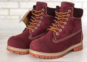Женские ботинки Timberland, бордовые (мех)