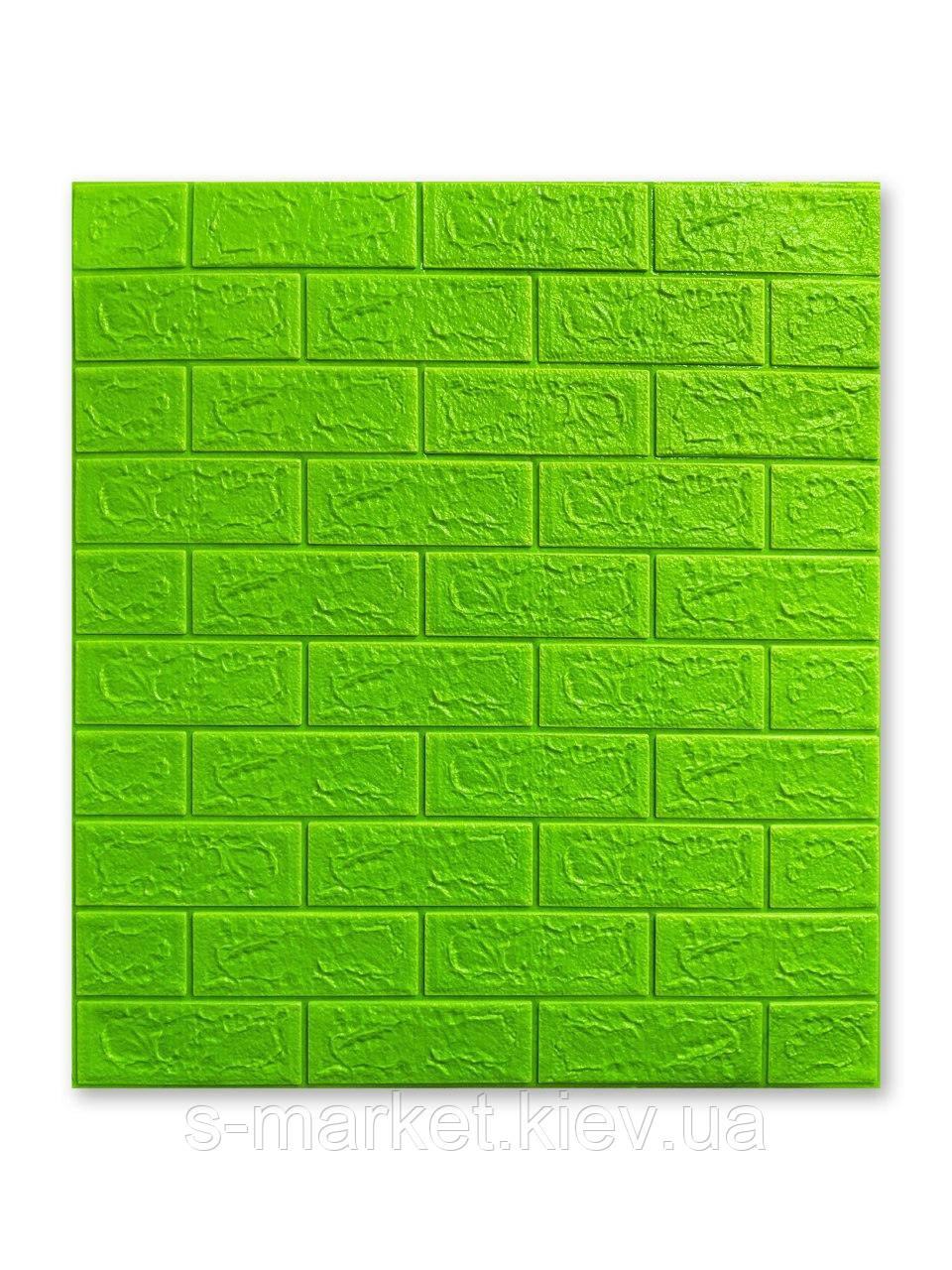 Самоклеющаяся декоративная 3D панель Кирпич Зеленый 700x770x5мм