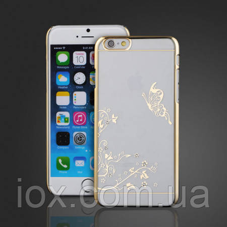 Чехол SWAROVSKI Butterfly Clear Gold для Iphone 6