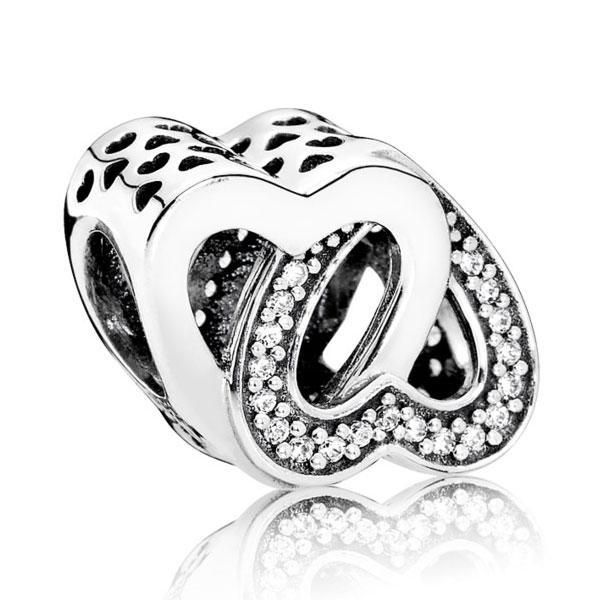 """Пандора Подвеска-шарм из серебра """"Переплетеные сердца"""" Pandora 791880CZ"""