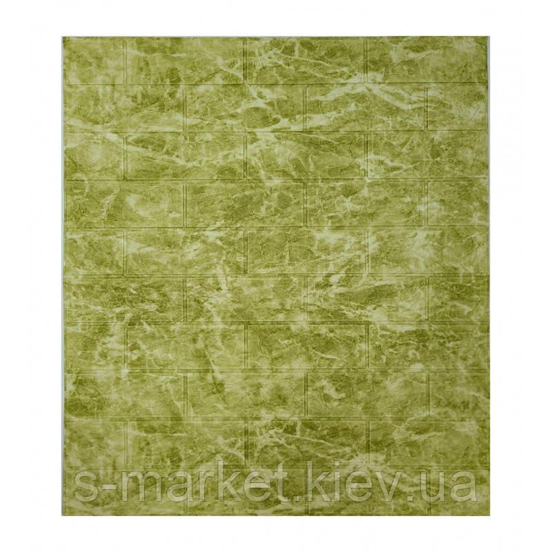 Самоклеющаяся декоративная 3D панель мрамор оливковый 700x770x5мм