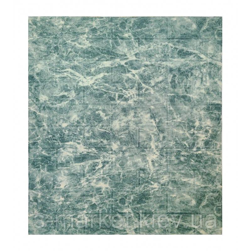 Самоклеющаяся декоративная 3D панель мрамор темное море 700x770x5мм