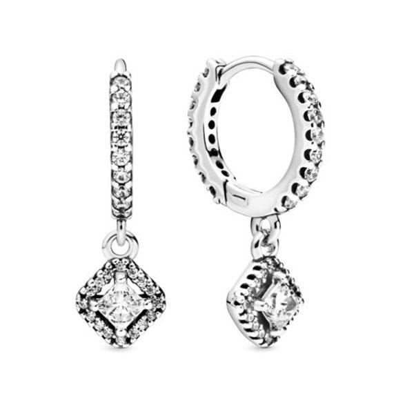 Пандора Сверкающие квадратные серьги-кольца Pandora 298503C01