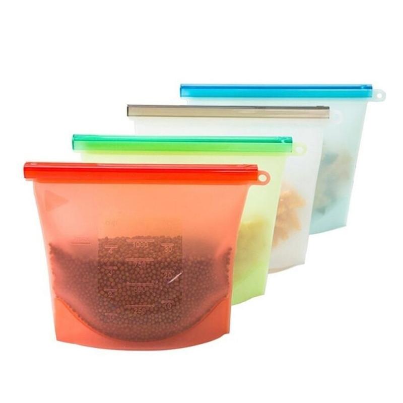 Многоразовый силиконовый зип пакет для хранения продуктов Красный 1 л
