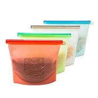 Многоразовый силиконовый зип пакет для хранения продуктов Красный 1 л, фото 1