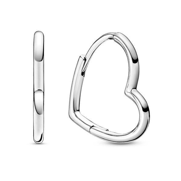 Пандора Серьги-кольца Ассиметричные сердца маленькие Pandora 298307C00