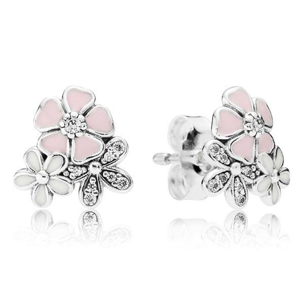 Пандора Серьги-пусеты из серебра Цветочное настроение Pandora 290686ENMX