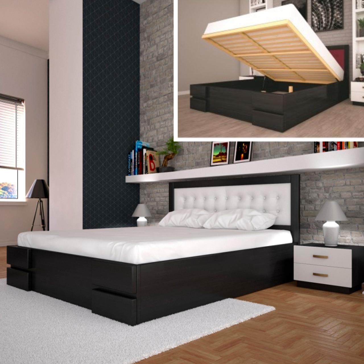 Кровать деревянная Кармен двуспальная с подъемным механизмом