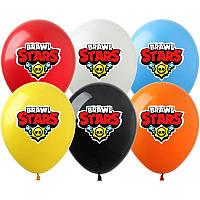 """Кульки """"Бравл Старс/Битва зірок"""" 12"""" (30см) З ГЕЛІЄМ повітряні з малюнком поштучно (асорті логотип)"""