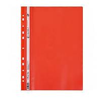 Скоросшиватель пластиковый с перфорацией, формат А4, красный