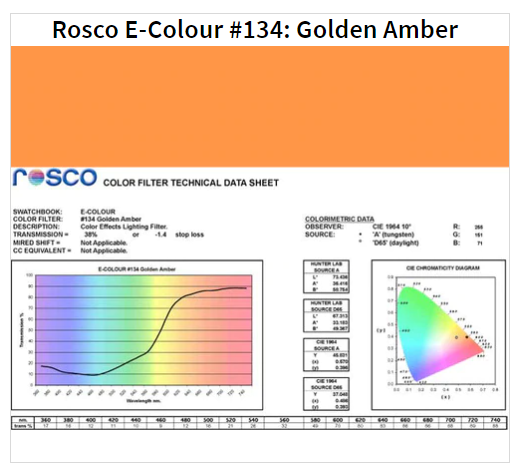 Фильтр Rosco E-Colour+ 134 Golden Amber Roll (61342)
