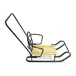 """Детские санки """"Королевские"""" со съёмной спинкой и ручкой толкателем Синие Зеленый"""