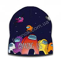 Демисезонная шапка Амонг Ас, размер универсальный (52-56см) двухслойная шапка Among Us, фото 1