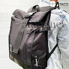 Ролл-топ рюкзак городской черного цвета