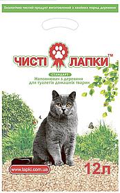 """Наповнювач деревне """"Чисті лапки"""" стандарт без аромату 3кг для котячого туалету"""