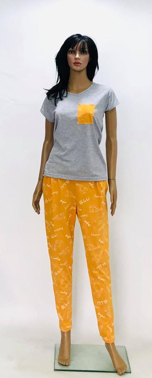 Жіноча трикотажна піжама футболка і штани