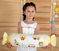 Подушка игрушка детская Хатка Конфета Бежевые Совы