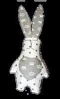 Подушка игрушка детская Хатка Заяц Белый с Серым