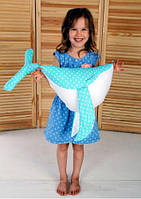 Подушка игрушка детская Хатка Кит Мятный с Белым