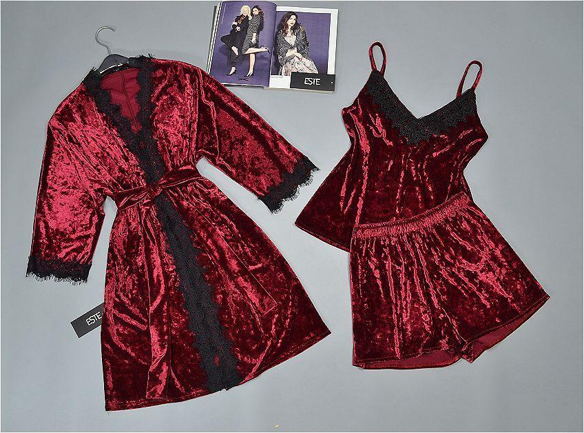 Комплект халат и пижама ТМ Este с кружевом велюровый 304-301 бордо.