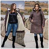 Удлиненная зимняя куртка женская Плащевка на синтепоне и овчине Размер 48 50 52 54 56 58 60 62 Разные цвета, фото 7