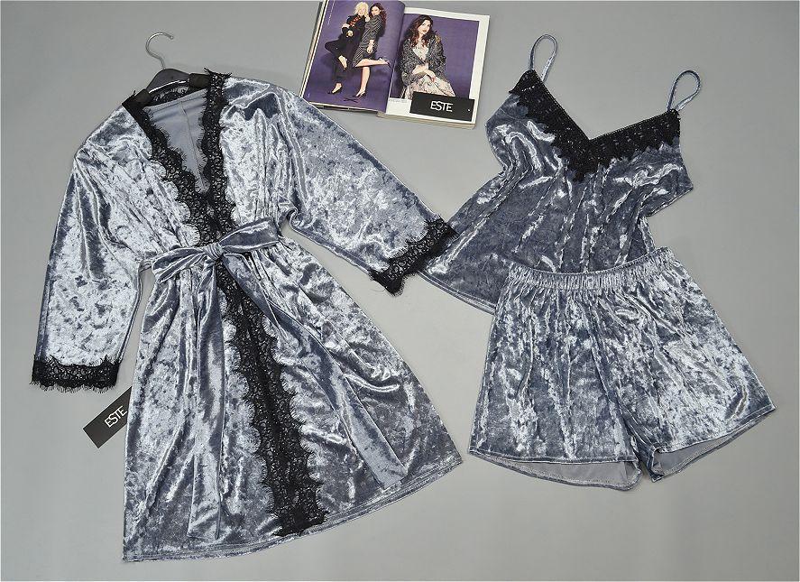 Велюровый комплект тройка халат майка шорты серебристый. Домашняя одежда женская.
