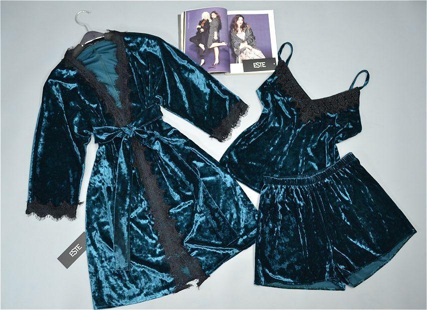 Велюровый комплект тройка халат майка шорты изумрудный. Домашняя одежда женская.